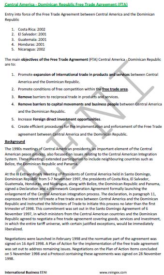 Central America Dominican Republic Agreement