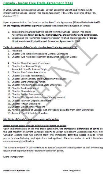Canada Jordan Free Trade Agreement E Course