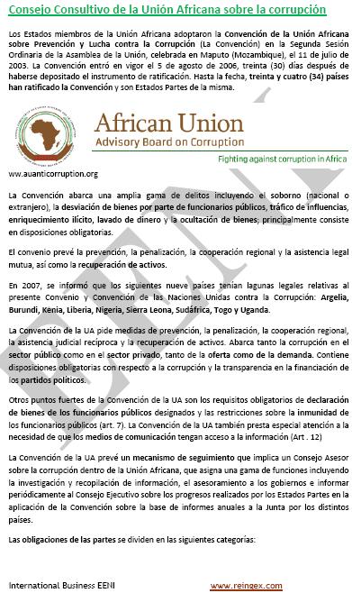 Curs Master: Unió Africana Convenció contra la corrupció