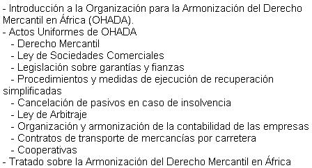 Curs Master: Organització Harmonització Dret Mercantil Àfrica OHADA