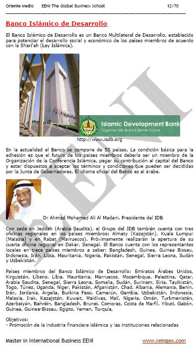 Banc Islàmic de Desenvolupament, Màster
