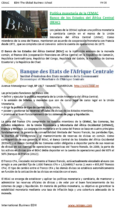 Curso: Banco de Estados del África Central