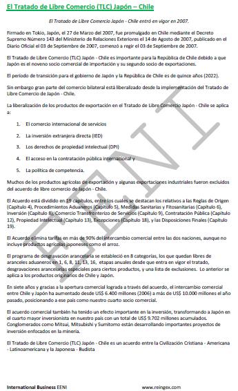 Curso: Acordo de Comércio Livre Japão-Chile