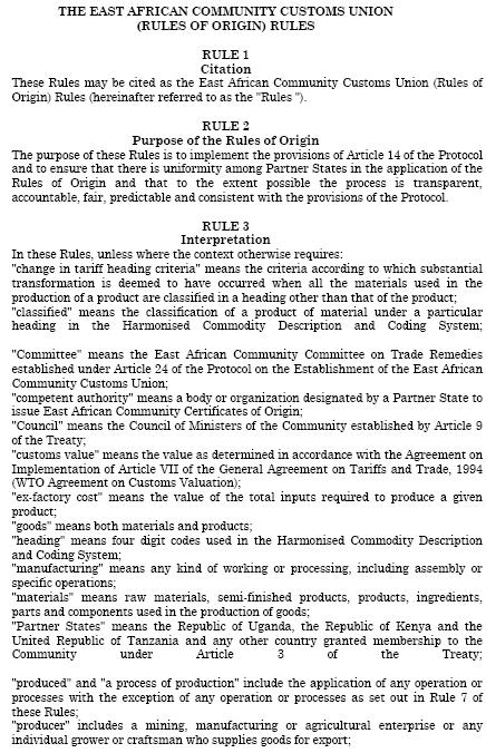 Àfrica Oriental Regles d'origen