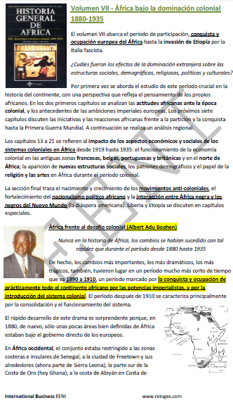 Doutoramento EAD: História África dominação Colonial