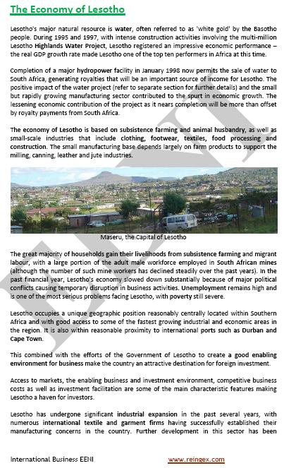 Master Curs: Comerç exterior i negocis a Lesotho