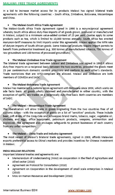 Curs Master: Tractats de lliure comerç Malawi