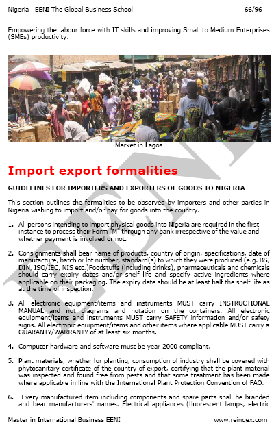 Nigèria Tràmits importació