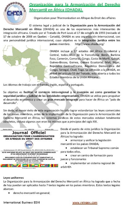 Curs Master: Organització per l'Harmonització del Dret Mercantil a l'Àfrica (OHADA)