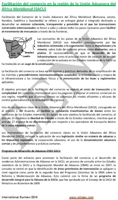 Curs Master: Unió Duanera de l'Àfrica Austral (SACU)