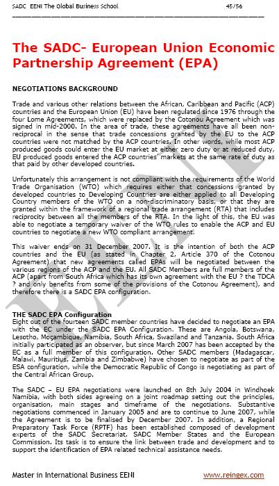 Curs Master: Tractat de lliure comerç SADC-Unió Europea