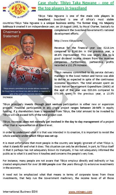 Tibiyo Taka Ngwane Empresari Swazilàndia