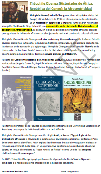 Théophile Obenga, Historiador congolês. A teoria Negro-Egipcíaca da linguística histórica (República do Congo)