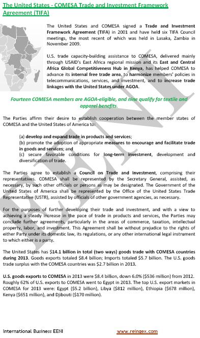 COMESA-Estats Units Tractat de lliure comerç (Curs)