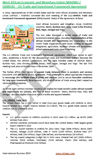 Estats Units-UEMOA Tractat de lliure comerç (Curs)