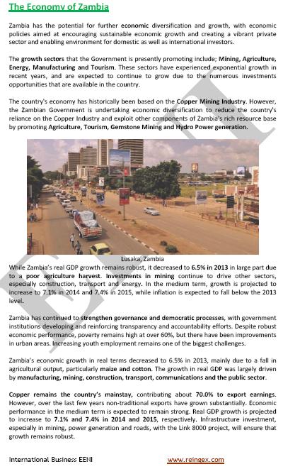 Comerç exterior i negocis a Zàmbia